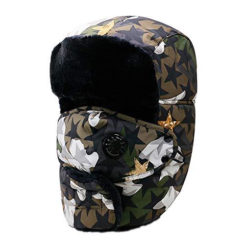 Mad Bomber Hat (Trapper Hat Unisex Winter Trooper Hat Jagdhut für Männer und Frauen Ohrenklappe Kinnriemen und winddichte Maske,armygreen)