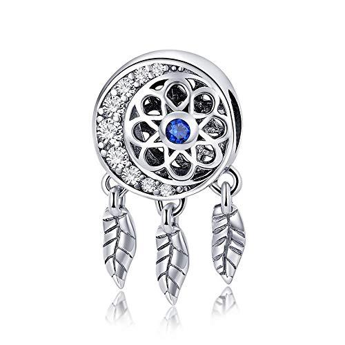 Abalorio atrapasueños con forma de luna, 100% plata de ley 925, compatible con pulseras y collares
