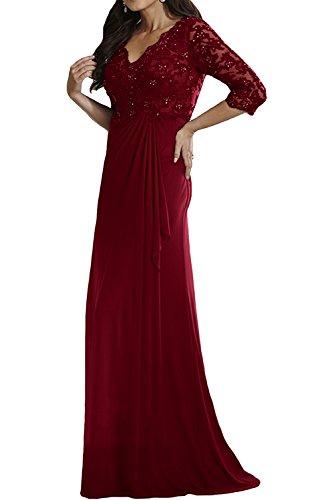 Charmant Damen Jaeger Gruen Langes Abendkleider Brautmutterkleider mit Spitze Langarm Damen Festlichkleider Weinrot
