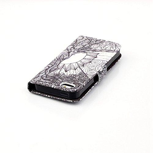 TOYYM Leder Flip Case für iPhone 7,Wallet Cover Hülle Schutzhülle Etui Tasche Rosa Bär Muster Design im Bookstyle mit Standfunktion Karteneinschub und Magnetverschluß Flip Case für iPhone 7 4.7 Zoll P Schwarz Mandala