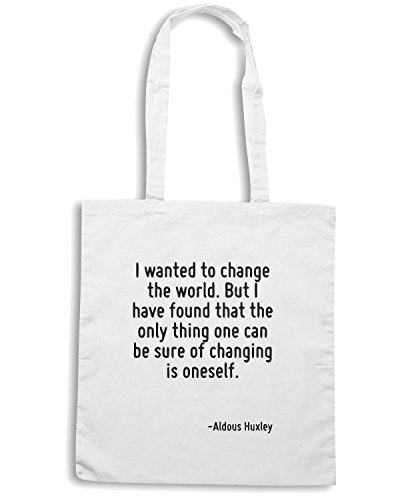 T-Shirtshock - Borsa Shopping CIT0111 I wanted to change the world. Bianco
