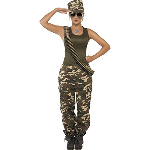 Soldatin Kostüm Armee Verkleidung Khaki S 36/38 Army Girl Camouflage Outfit Sexy Soldatinnen Uniform Soldatinnenkostüm Damen (Sexy Camo Outfits)