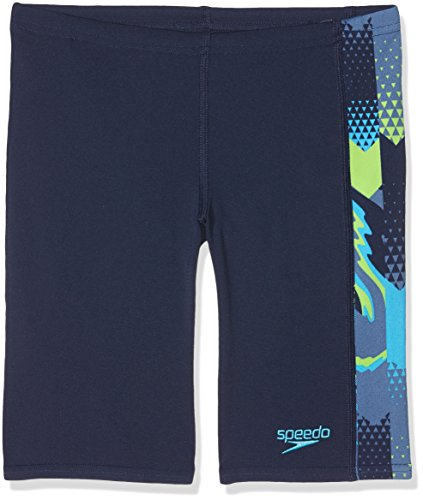 Speedo Jungen alphablast Allover Panel Jammer, Jungen, AlphaBlast All-Over Panel, Navy/Turquoise/Apple Green, 152 (Panel Side Badehose)