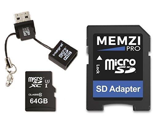 Memzi Pro 64GB Micro-SDXC Speicherkarte für Akaso V50Native, Brave 4, ek7000, ek5000Action Kameras–High Speed Class 10UHS-I U395MB/s Lesen 60MB/s Schreiben 4K Full HD Videoaufnahme mit Mini USB-Lesegerät
