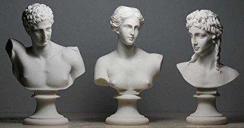 Afrodita (Venus) y Hermes & Eros Set 3griego romano Dios Busto Escultura de cabeza de estatua