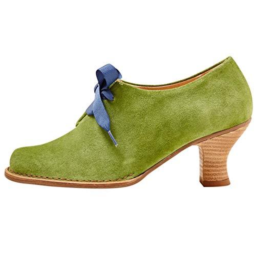 SEHRGUTGE Louis Heel Vintage Pumps für Damen, niedrige Schnürschuhe aus Wildleder mit Mandelkappe (Schwarze Riemchen Mädchen Kostüm Heel Schuhe)