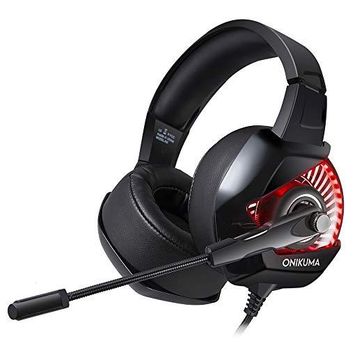 MCCW Gaming Headset komfortabel mit Mai-Kabel Professionelle LED RGB beleuchtete Kopfhörer Perfekte Klangqualität