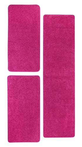 misento 292166 Bettumrandung Shaggy Langflor Teppich Uni Farben weicher Flor Läufer Brücke 1 x 67 x 250 cm, 2 x 67 x 140 cm, rosa