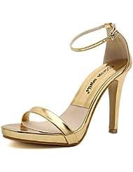 CBIN&HUA Zapatos de mujer-Tacón Stiletto-Tacones-Sandalias-Fiesta y Noche-Semicuero-Plata / Oro , golden , us8 / eu39 / uk6 / cn39