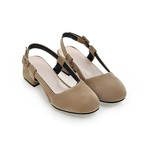 AllhqFashion Damen Rein Schnalle Schließen Zehe Niedriger Absatz Sandalen Aprikosen Farbe