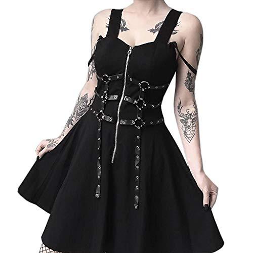 FRAUIT Damen Gothic Kleid Schwarz Ledergürtel Minikleid Reißverschluss Plissee Strap Kleid Gothic Street Punk Wind Cosplay Kleid Mit Hängende Verzierung (Gothic Kleid Frauen)