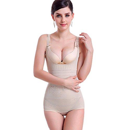 RIEMTEX Figur Body Brustfreier Formbody Gr: 38 bis 46 Figurformende Shapewear Damen Unterwäsche Bauchweg Hüfte und Taille Slim Fit Mieder für die perfekten Kurven (36, Beige)