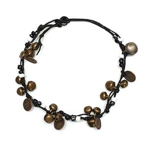 Idin Fußband – Messingglöckchen, -medaillons und weiße und schwarze Perlen (ca. 25 cm lang)