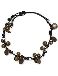 Idin Fußband - Messingglöckchen, -medaillons und weiße und schwarze Perlen (ca. 25 cm lang)
