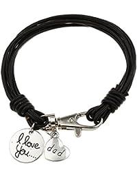 """Gudeke Lettre de Sculpture """"I Love You Dad"""" Je T'aime Papa Journée Cadeau de Cuir Noir Bracelets Père 9 """""""