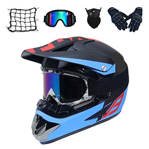 MRDEAR Casco Motocross Nero e Blu, MR-127 Casco Moto Cross Kit con Occhiali Guanti Face Mask Rete Elastica, Caschi Moto per MTB Downhill Offroad Enduro Sport per Donna Uomo Adulto,L