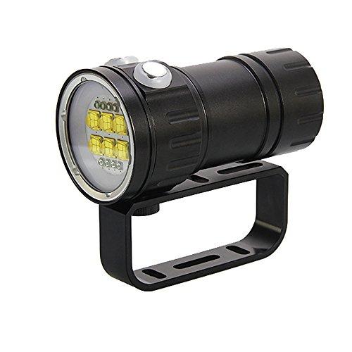 Linterna de Buceo, Heligen 50400 Lúmenes Linterna de Submarinismo, LED Profesional de Buceo 80M, IPX8 Impermeable LED Linterna 500W Alta Potencia