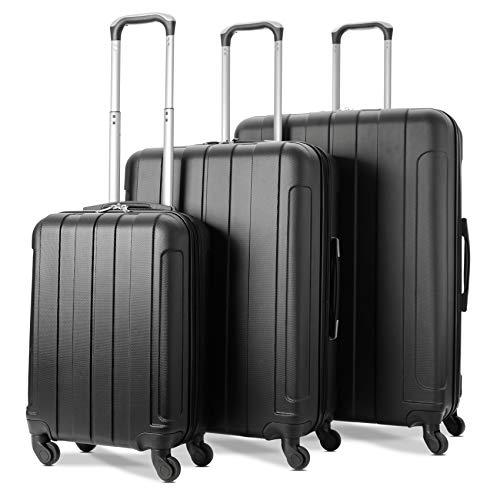 EONO Essentials ABS Juego de 3 equipaje maleta rígida ligera con 4 ruedas, 55cm Equipaje de Mano + 71cm Mediana + 81cm Grande, Negro