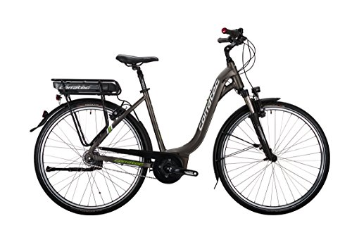 Corratec Damen E-Power 28 Urban Active 8s 400 Wave Fahrrad, Grau/Braun matt/Weiß/Lime Grün, 48