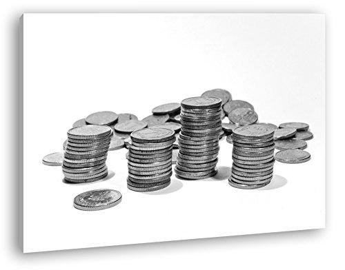 Stapel Münzgeld Effekt: Schwarz/Weiß Format: 100x70 als Leinwand, Motiv fertig gerahmt auf Echtholzrahmen, Hochwertiger Digitaldruck mit Rahmen, Kein Poster oder Plakat (Dollar Radiergummi)
