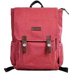 Douguyan Lona Mochila Bolsa para Mujer Mochilas Hombre Macbook Computadora de Escuela Viaje 120 Rojo