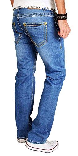 A. Salvarini Herren Designer Jeans Hose blau dicke weiß gelbe Nähte 09 Blau