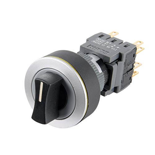 ZCHXD Latching Rotary Selector Switch AC 250V 0.5A 22mm Panel Cutout Dia DPDT ON-OFF-ON 3 Position 1/0/2 Round Head Ac Rotary Switch Panel