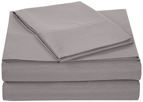 AmazonBasics Microfiber Sheet Set - Single, Dark Grey, 4-Pack (Each Pack Includes 1 bedsheet, 1 Fitted Sheet with Elastic, 1...