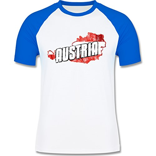 Shirtracer Länder - Austria Umriss Vintage - Herren Baseball Shirt Weiß/Royalblau