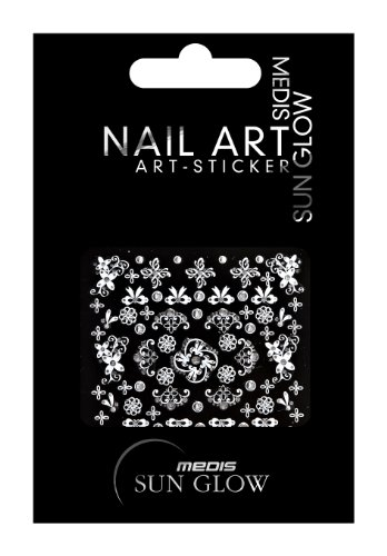 Medis Sun Glow Stickers décoratifs pour ongles Argenté Mini autocollants pour nail art Motif nœud argenté avec strass argenté