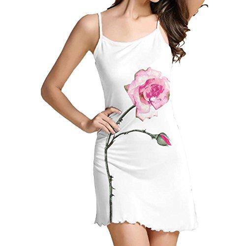 GOKOMO Kleid Sommer Ärmelloses Minikleid mit Print für Damen(Weiß,W,Medium)