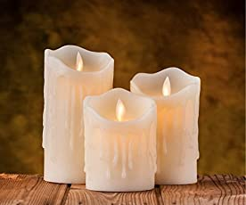 Auslese Flameless Candles Led Battery Operated Flickering Flame White Indoor Outdoor Large Pillar Candle Lights - Set of 3 with Extra Battery