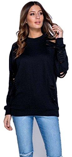 Ladies Distressed Laser Cut Sweat EUR Taille 36-42 Noir