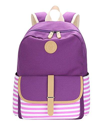 Schulrucksack Vintage Canvas Rucksack Schultasche Damen Kinderrucksack Schultaschen Daypacks Coole Rucksäcke Gestreift Schulranzen Mädchen Lila