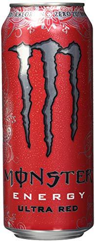 Monster Energy Ultra Red mit rotem Früchte-Mix - Zero Zucker & Zero Kalorien, Energy Drink Palette, EINWEG Dose (24 x 500 ml)