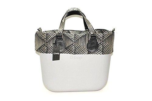 OBAG Borsa o bag mini grigio con sacca bordo e manico corto 3d argento e nero