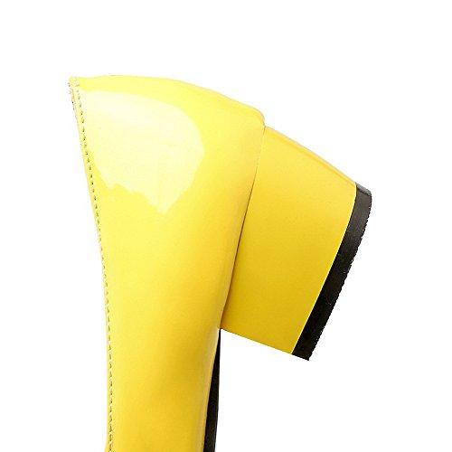 VogueZone009 Donna Puro Pelle di Maiale Tacco Basso Punta Quedrata Tirare Ballet-Flats Giallo