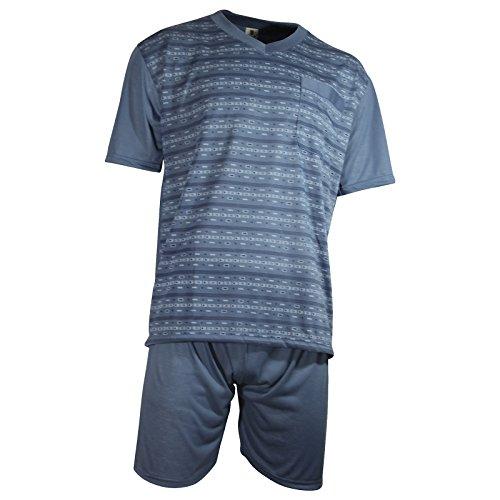 Herren Schlafanzug kurz Shorty T-Shirt bedruckt Hose uni 2 Typen in 6 Farben - Qualität von Lavazio® Typ1 dunkelgrau