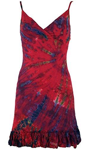 Guru-Shop Batik Minikleid, Boho Bleistiftkleid, Damen, Pink, Viskose, Size:38, Kurze Kleider Alternative Bekleidung
