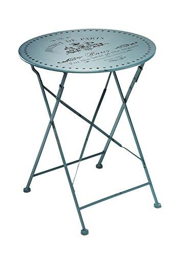 Metalltisch Gartentisch Beistelltisch Rundtisch Deko Tisch Aus Metall  Vintage Türkis 60 Cm Durchmesser