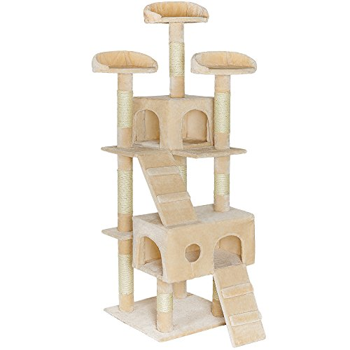 TecTake Cat Scratcher Activity Center Cat Tree Scratching Post medium sized beige