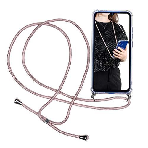 GODTOOK Funda con Cuerda para Xiaomi Redmi Note 7 - Carcasa Transparente de Silicona TPU Ultra-Delgado Anti Shock con Colgante con Cordón para Llevar en el Cuello, Oro Rosa