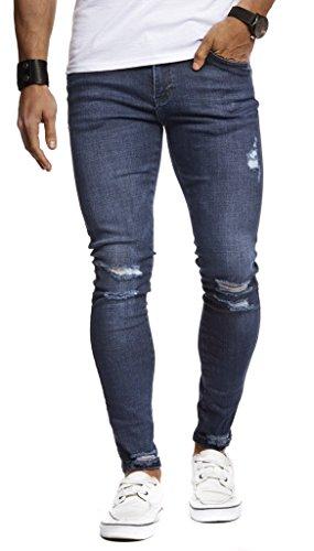 LEIF NELSON Herren Jeans Hose Slim Fit | Denim Blaue graue Lange Jeanshose für Männer | Coole Jungen weiße Stretch Freizeithose Schwarze Cargo Chino Sommer Winter Basic | LN9145 Blau W33/L30