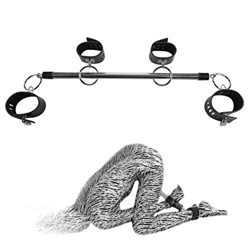 Bondage BDSM Fessel Stange Doggy-Style schwarze Ledermanschetten, Fesselstange mit 2 Handfesseln u. 2 Fußfesseln #12002