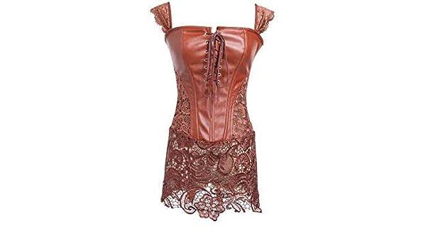3b9fb3460f988 Uniqus INITIALDREAM Women s Gothic Leather Dress Body Shaper Slim Shapewear  Waist Trainer Body Waist Tummy Top Steampunk Corset Color 25-8024-02 Size XL