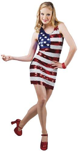 Boland 87149 - Paillettenkleid Dazzle USA, Gröߟe M, schwarz (Amerika Themen Halloween Kostüme)