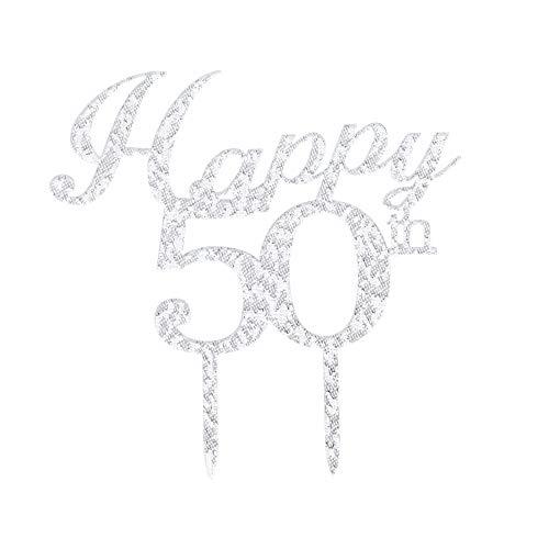 Tortenaufsatz zum 50. Geburtstag, silberfarben, Happy 50th Birthday, Party-Dekoration, Zubehör zum 50. Jahrestag (Birthday-dekorationen Happy 50th)