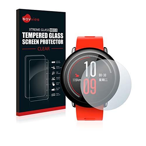 savvies Pellicola Vetro Temperato Compatibile con Huami Amazfit Pace Protezione Protettivo Schermo Glass Durezza 9H