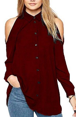 Donne pullover Shirts di Colore Solido Casual Top Maglietta Sexy Lunga Manica Spalla Fredda Tunica Camicie Sciolto Chiffon Bluse Vino rosso