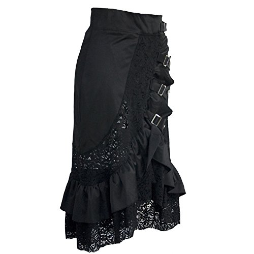 coswe Falda para mujer estilo vintage, steampunk, gótico, victoriano, de algodón, con encaje negro negro negro